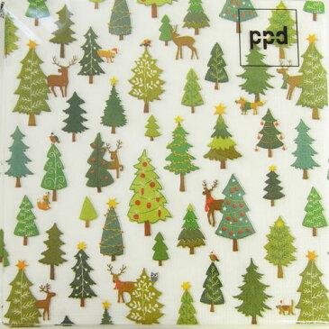 10枚 ペーパーナプキン クリスマスツリーの森 絵本風ppd[ドイツ製]クリスマスデコパージュtanba