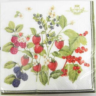 紙餐巾10張裝的伯利兹[Nuova]草莓·木莓·蔓越莓·藍莓紙餐巾、紙巾·剪貼畫草莓、草莓