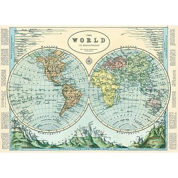1726 包装紙 ラッピングペーパー エミスフェールマップ2 半球2世界地図[Cavallini ]輸入包装紙スクラップブッキング・ポスター・カルトナージュ・デコパージュ・ペーパークラフト