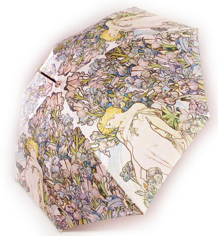 ジャンプ傘 名画アンブレラ ミュシャ アイリス[あまの]かさ・傘・カサ・天使