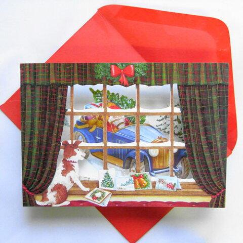 クリスマスカード 立体カード サンタがオープンカーでやってくる[Courtier]クルティエ・メッセージカード・多目的グリーティングカード