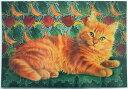 ポストカード アイボリーキャッツ ダンデライオンと鳥の壁[Lesley Anne Ivory] グリーティングカード 猫・ネコ・ねこ・Cat・キャット