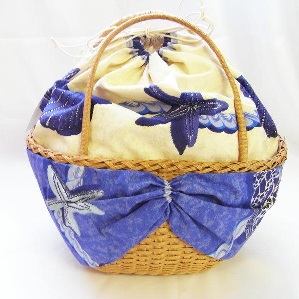ハンドメイド 紙バンドかごバッグ・夏バッグ・貝殻 クラフトテープ ブルーシェル かごバッグ [epo-craft]