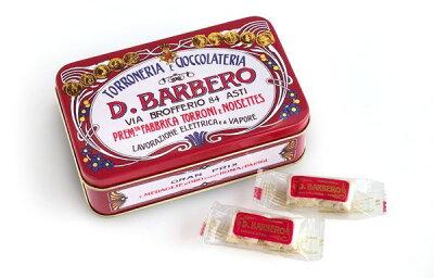 [輸入お菓子]バルベロトロンチーニ缶赤BARBEROソフトヌガー12粒レトロ缶イタリアインテリア小物入れ