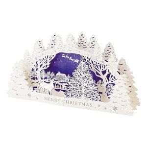 クリスマスカード トナカイの白い森 アーチ型[Sanrio]サンリオメッセージカード・立体カード・レーザーカット