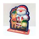 クリスマスライト&メロディカード サンタとトナカイ エンボスプラスチック [Sanrio]サンリオメッセージカード・立体カード・ポップアップ