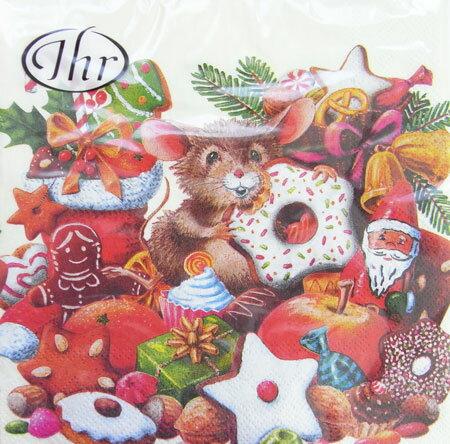 ペーパーナプキン ランチサイズ 5枚入り [メール便OK]CHRISTMAS MICE クリーム ねずみ クリスマス[IHR]ドイツ 紙ナプキン・ペーパーナプキン・デコパージ