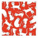 輸入包装紙 Rex LONDON レッド×ホワイトキャットポスター[dotcomgiftshop]レックス ロンドン猫柄 キャット柄 キャット ネコ