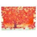 秋カード レーザーカットポップアップカード 真っ赤な紅葉1本