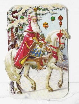 [Punch Studio]無地カード S サンタ&ホース★デザイン封筒付き★ パンチスタジオ2012クリスマスコレクション・立体メッセージカード馬・うま・ウマ