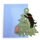 Have a wonderful holiday!クリスマス ボヌールカード★定形サイズお部屋の中のラブラドール黒...