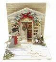 ポップアップ クリスマスカード ホリデー ドア[Up With Paper]スノーマン・立体クリスマスカードポップアップカード - KADERIA