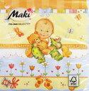ペーパーナプキン[メール便OK] 赤ちゃんとくまちゃんブルー[Maki]2枚入りペーパーナフキン・紙ナプキン・デコパージュ