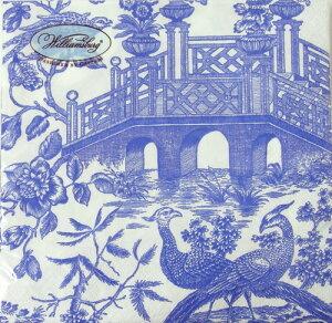 ペーパーナプキン[メール便OK] CHINOISERE TOILE BRIDGE blue 10枚入りCaspari[ドイツ製]