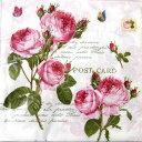 ペーパーナプキン[メール便OK] 10枚入りロマンティックローゼズ[Nuova]ペーパーナフキン・紙ナプキン・デコパージュローズ・バラ・薔薇・花柄