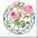 5枚ペーパーナプキン ローズ フォア ランチ ホワイト [IHR]ランチサイズ ローズ バラ 薔薇  青白食器