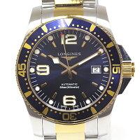 LONGINES ロンジン メンズ腕時計 ハイドロコンクエスト L3.642.3 ネイビー文字盤 SS×GP【中古】