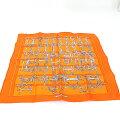 エルメスHERMESガヴロッシュMORSETFILETSスカーフシルク100%オレンジカレ45ポケットチーフ轡ビット馬具未使用品