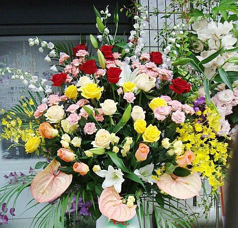 開店祝い・お祝い専用 スタンド 花・ロータイプ(ミックス...