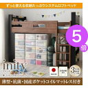 ■5倍ポイント■棚・コンセント付きシステムロフトベッド【inity】ア...