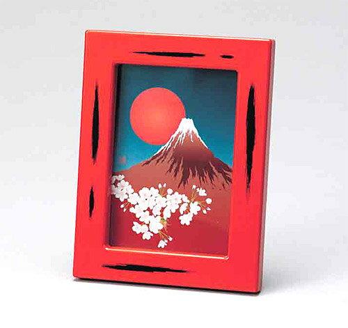 山中塗り の写真たて フォトフレーム(写真8.7x12cm):h2702ph-d