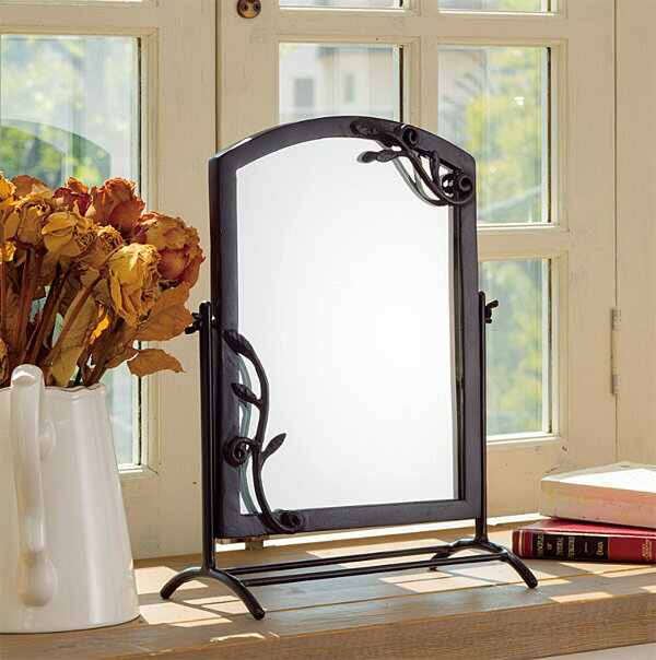 鏡 ミラー 卓上鏡 卓上ミラー スタンドミラー ミラースタンド スタンド メーキャップミラー 化粧鏡 コスメミラー:NaA-22r6:鏡 ミラー 洗面 インテリア IVY