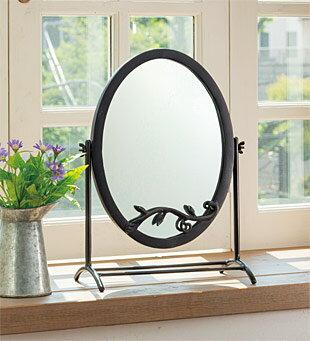 鏡 ミラー 卓上鏡 卓上ミラー スタンドミラー ミラースタンド スタンド メーキャップミラー 化粧鏡 コスメミラー:NaA-22r8:鏡 ミラー 洗面 インテリア IVY