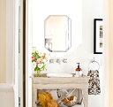 クリスタル ミラー 洗面鏡 浴室鏡 360x500mm エメラルド デラックスカット 洗面 鏡 浴室 壁掛け ミラー ...