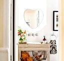 クリスタル ミラー 洗面鏡 浴室鏡 450x470mm ハート シンプルカット 洗面 鏡 浴室 壁掛け ミラー 日本製...
