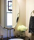 クリスタル ミラー 洗面鏡 浴室鏡 500x700mm 楕円形 クリスタルカット 洗面 鏡 浴室 壁掛け ミラー 日本...