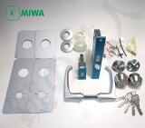 MIWA LE-11(LE-12)とMIWA TESPの刻印の玄関錠一式交換、不二サッシクリード代替品レバーハンドル内外上下錠ケースMIWA U9シリンダー2個同一キータイプキー5本付き【送料無料】