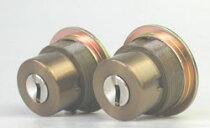 WESTリプレイスシリンダーLIX用交換シリンダー・2個同一キーセットブラウン色
