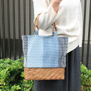 藍染刺子織とやまぶどうのトートバッグ(遠州正藍織物/縞/小サイズ)(約)幅25×マチ8×本体高さ27...