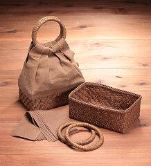 やまぶどうの下かごと柿渋布で作るまあるい取手のふっくらバッグ