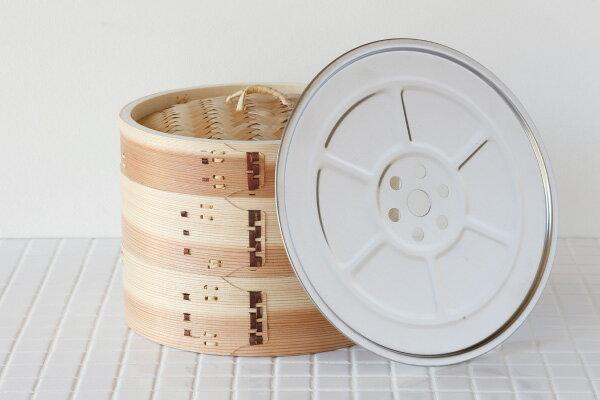 杉 中華せいろ 21cm(外径) ステンレス蒸し板セット[ステンレス蒸し板・本体2・ふた1][蒸篭(セイロ)/蒸し器]