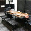 【家具】 ダイニングテーブルセット 幅190cm 6点セット 6人掛け 無垢材 木製 高級家具 肘付きチェアー ダイニングチェアー 食卓 ダイニング6点セット ミッドセンチュリー 北欧