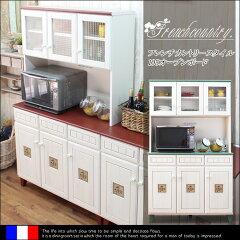 【インテリア】 【家具】 食器棚 ダイニングボード 幅105 フレンチ カントリー 完成品 レ…