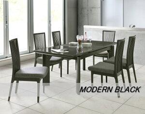 天板伸長式の機能的なモダンな光沢のあるブラックUV塗装エクステンションテーブルW150cmW190cm格子デザイン木製ハイバックチェアー カバーリング布張りカラーが選べる
