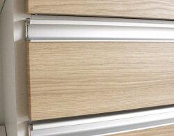 180cm高レンジボードレンジ収納食器棚モイスMOISSホワイト白スライドカウンター・ブラウン