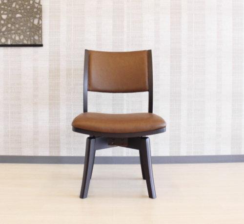 天然木無垢材フレームPVCソフトレザー張り木製回転ターンチェアー・ダイニングチェアー食卓椅子・単品販売ラウンド回転機能・組み立て式・合成皮革・合皮