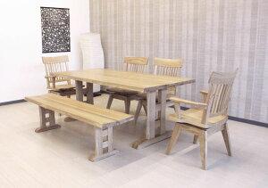 天然木タモ無垢材使用の和風モダンなダイニングセットナチュラルな木製・食卓セット6人用6点セットインポートお買い得商品・送料無料W180cmベンチタイプ