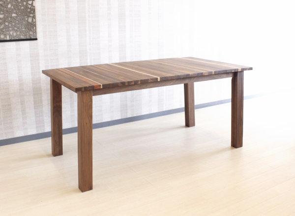 天然木ウォールナット・ブラックチェリー・ハードメープル無垢材をミックス貼り世界に一つだけのダイニングテーブル4本脚・日本製・国産・レグナテック120〜180cm10cm刻み