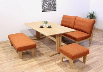 天然木レッドオーク・ウォールナット無垢材の布張り3人掛けソファ・国産・日本製・オーダーメイド・ブラックチェリー・リビング・ダイニングLD