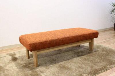 天然木レッドオーク・ウォールナット無垢材の布張りベンチソファ・国産・日本製・オーダーメイド・ブラックチェリー・リビング・ダイニングLD長椅子