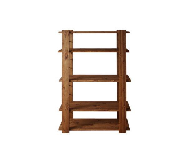 天然木パイン無垢材使用ハイシェルフ・オープンラックヴィンテージ調表面仕上げ国産日本製ディスプレイラック間仕切りシェルフアンティーク風加工・木製アイアン鉄