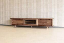 ウォールナット・ホワイトオーク無垢材のTVボード格子・テレビ台・木製・オイル塗装仕上げ・国産・日本製・オーダーメイド
