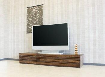 ウォールナット・ナラ・ブラックチェリー材のTVボード格子・テレビ台・木製・オイル塗装仕上げ・国産・日本製・オーダーメイド