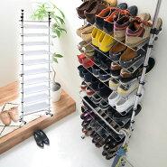 シューズラック・玄関収納・スリッパラック・下駄箱・シューズボックス・靴箱・薄型壁面収納・つっぱり式シューズラック
