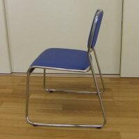 【送料無料】スタッキングチェアー(4脚セット)ブルー(青)ミーティングチェア積み重ね可能完成品【あす楽対応】組立不要メッキ仕上げダイニングチェアーミーティングチェアースタッキングチェア会議用椅子事務椅子会議イス