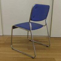 【送料無料】スタッキングチェアー(4脚セット)ブルー(青)積み重ね可能完成品【あす楽対応】組立不要メッキ仕上げダイニングチェアーミーティングチェアースタッキングチェア会議用椅子事務椅子会議イス